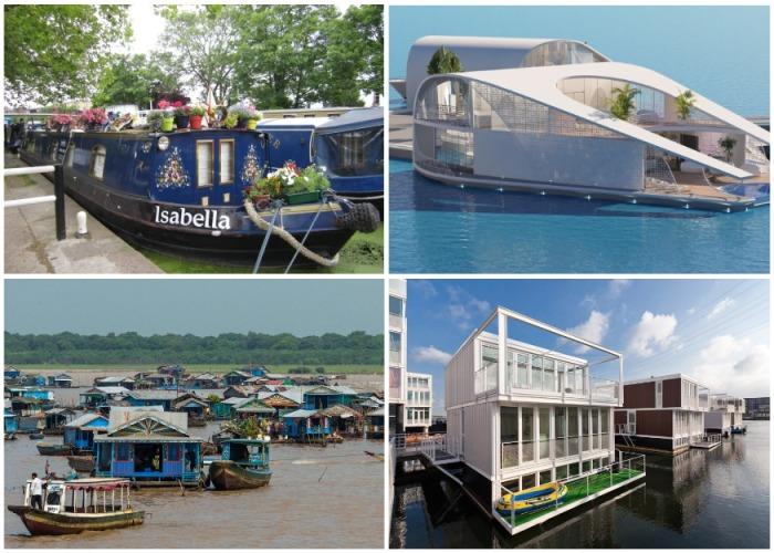 Плавающие дома: от современных футуристических апартаментов и крошечных барж до целых деревень и городских кварталов.