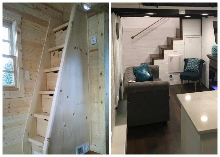 Лестница с потайными ящиками – идеальный вариант для малогабаритных помещений. | Фото: co.pinterest.com.