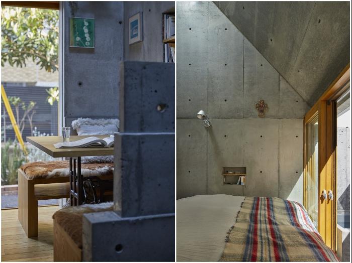 Спальня и зона чтения расположены возле стеклянной раздвижной двери, ведущей во внутренний дворик («Love2House», Токио). | Фото: hosakatakeshi.com.