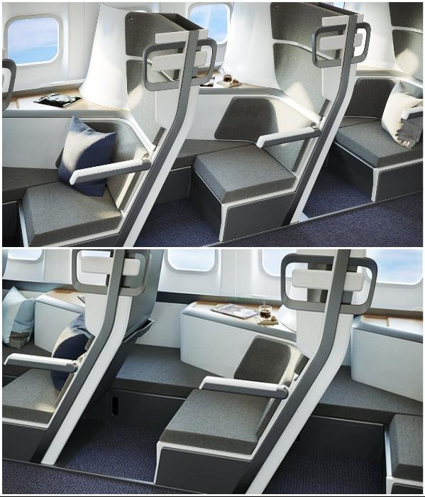 Американская компания разработала индивидуальные модули для каждого пассажира эконом-класса. | Фото: republic.co/ style.yahoo.com.tw, © Zephyr Aerospace.
