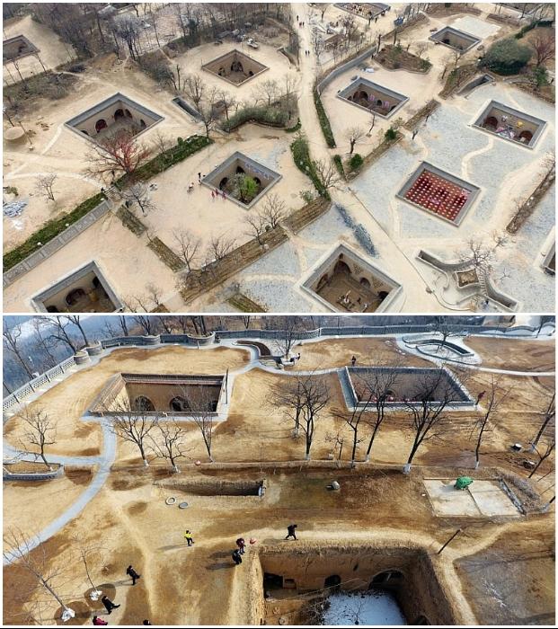 Современные подземные поселения выглядят более респектабельно и имеют облагороженную территорию (Китай). | Фото: tourweek.ru/ sozero.livejournal.com.