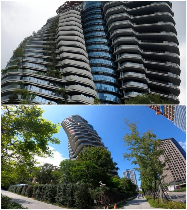 Благодаря изгибающейся форме небоскреб Tao Zhu Yin Yuan имеет необычный и меняющийся вид, в зависимости от точки зрения (Тайбэй, Тайвань).