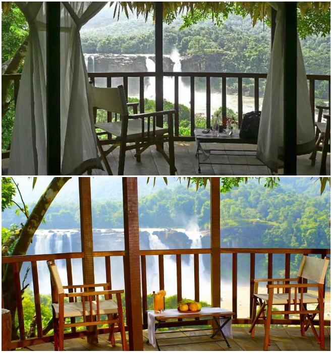С открытой террасы открывается умопомрачительный вид на водопад и окрестности (Rainforest, Индия). | Фото: rainforest-boutique-resort.kerala-hotels.