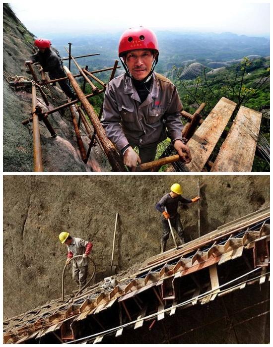 Все работы на запредельной высоте проводятся без страховочных тросов и ремней. | Фото: travelask.ru.