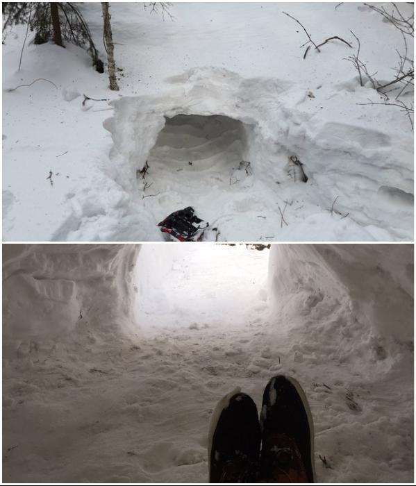 Самый быстрый способ обзавестись жильем – сделать иглу в большом сугробе снега. | Фото: nepropadu.ru/ drive2.ru.