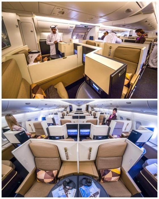 Бизнес-класс занимает три четверти верхней палубы авиалайнера А-380. | Фото: joker.ykt.ru.