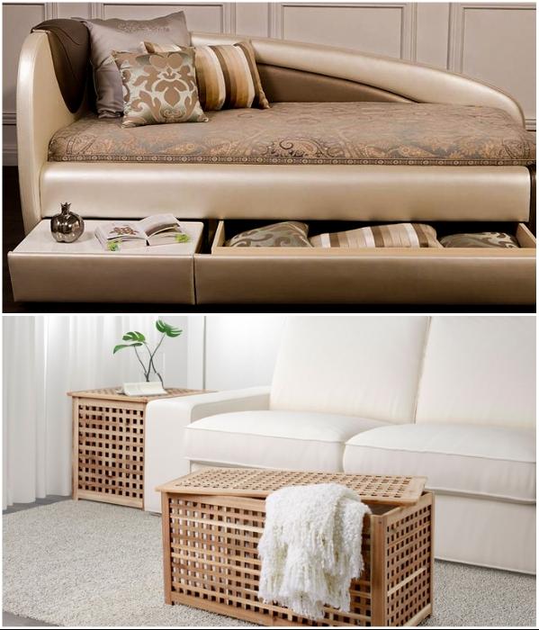 Не только в диван можно спрятать постельные принадлежности и выдвижной стол, но и в журнальном столике устроить хранилище. | Фото: ladya.ru/ kvartblog.ru.