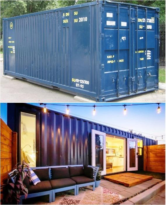 Снаружи контейнер не стали облицовывать. | Фото: tinyliving.com.