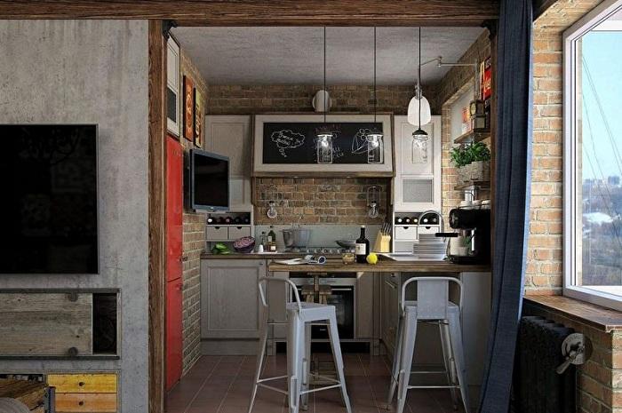 Стиль лофт хорошо смотрится в квартирах-студиях или совмещенных зонах.