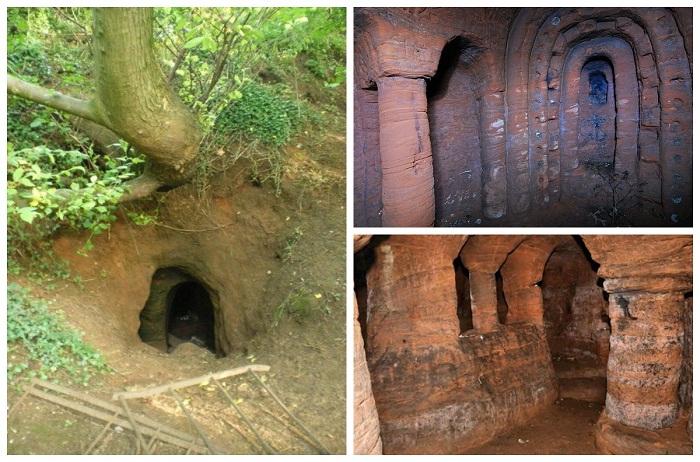 Вход в пещеру был засыпан после гибели подростка (Caynton Caves, Великобритания).