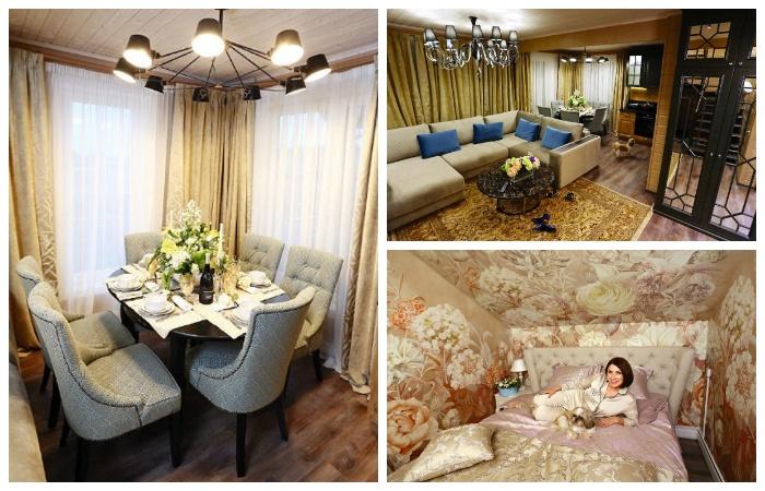 Интерьер загородного особняка Розы Сябитовой был оформлен в стиле дорого-богато.