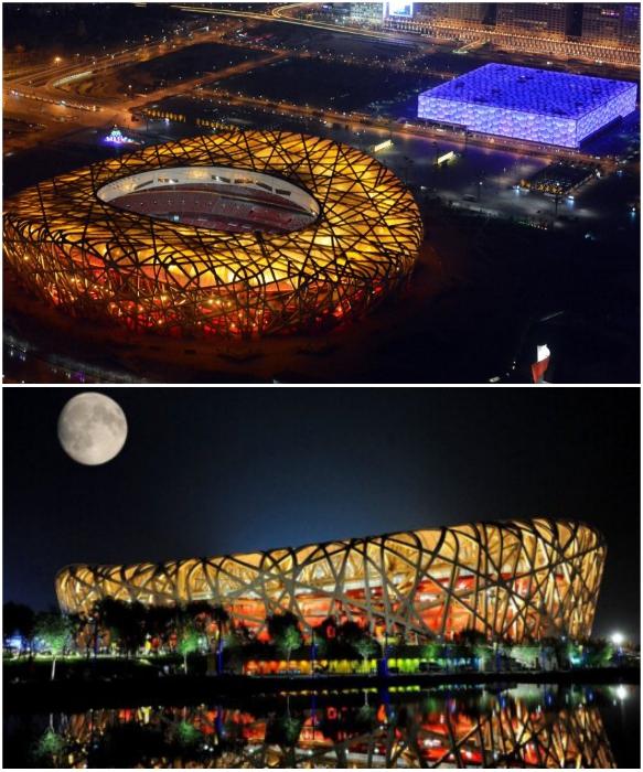 Колоссальное сооружение из стали элипсообразной формы с 24 переплетающимися стальными колоннами (National Stadium, Пекин). | Фото: znajrusskij.blogspot.com.