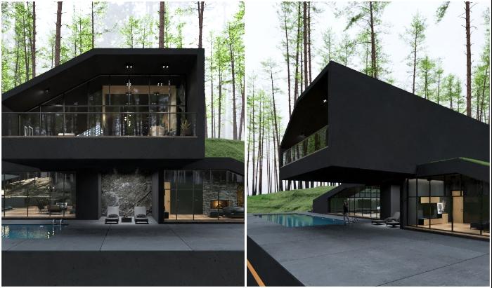 «Черная вилла» предлагает интригующий и приятный отдых на лоне природы (концепт архитектора Reza Mohtashami).