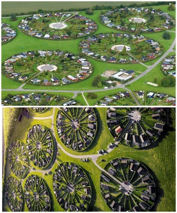 Город-сад, расположенный неподалеку Копенгагена прославился уникальным расположением круговым расположением кварталов (Брондбю, Дания). | Фото: es-la.facebook.com.