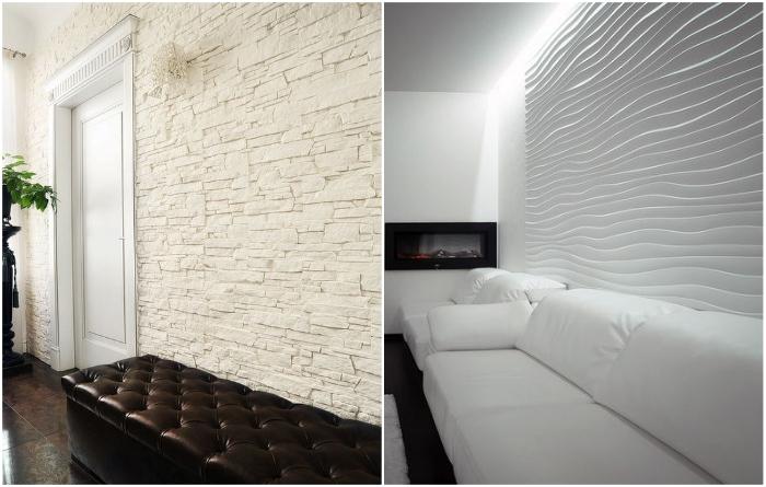 С помощью гипсовых панелей можно создать акцентную стену. | Фото: design-homes.ru/ krovati-i-divany.ru.