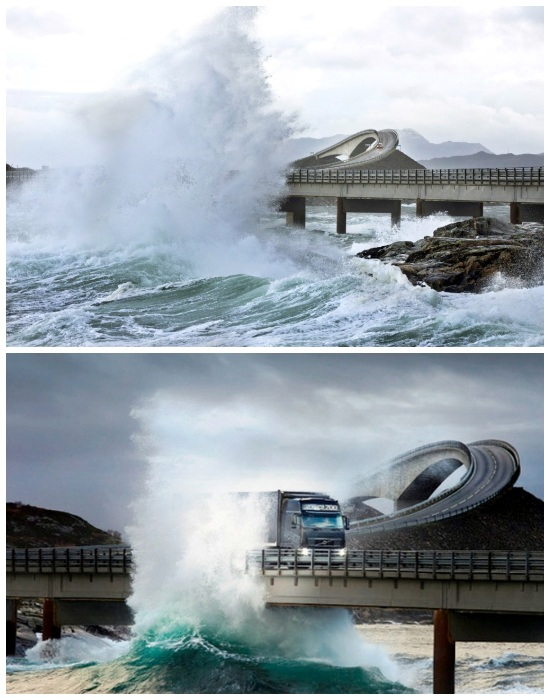 Зловещий аттракцион проезда по мосту во время шторма (Storseisundet, Норвегия).
