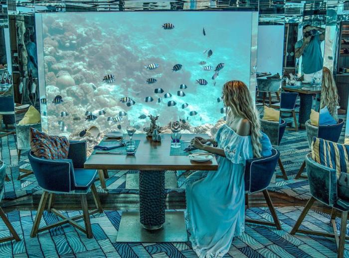 Уединенный столик, уютные кресла, завораживающий вид за окном сделают ужин или обед незабываемым (Sea Underwater Restaurant, Мальдивы). | Фото: mydernmet.com.