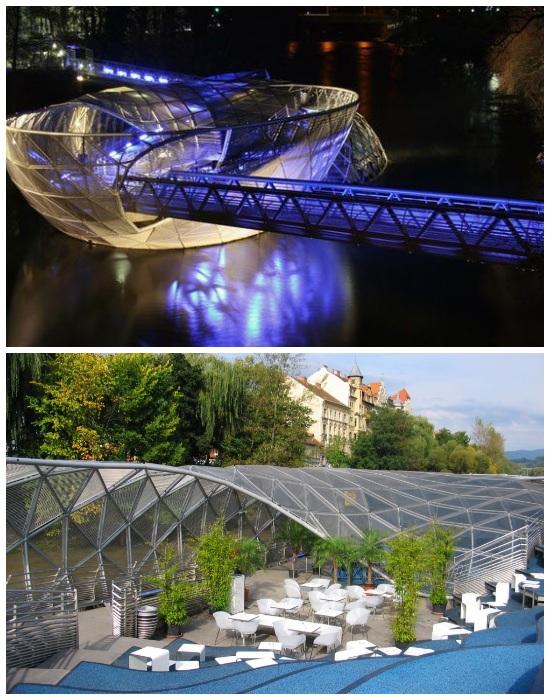 Мост-остров Муринзель (Murinsel) был создан в рамках конкурса на звание «Европейской культурной столицы» (Грац, Австрия).