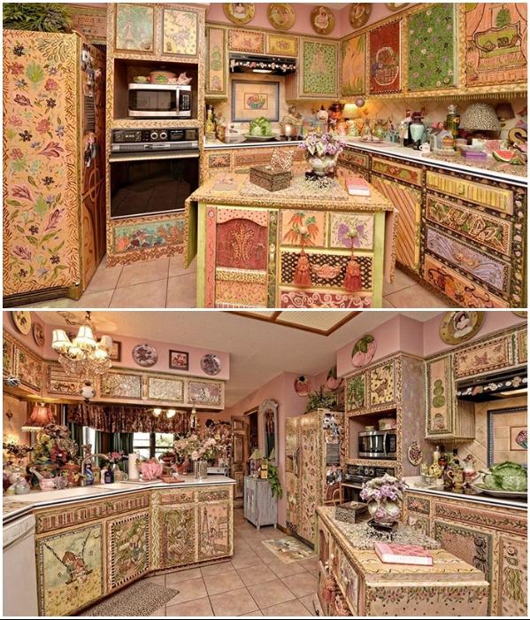 Расписная кухня с кисточками на ручках кухонного гарнитура даже для любителей всего экзотического – уже перебор. | Фото: awesomeinventions.com.