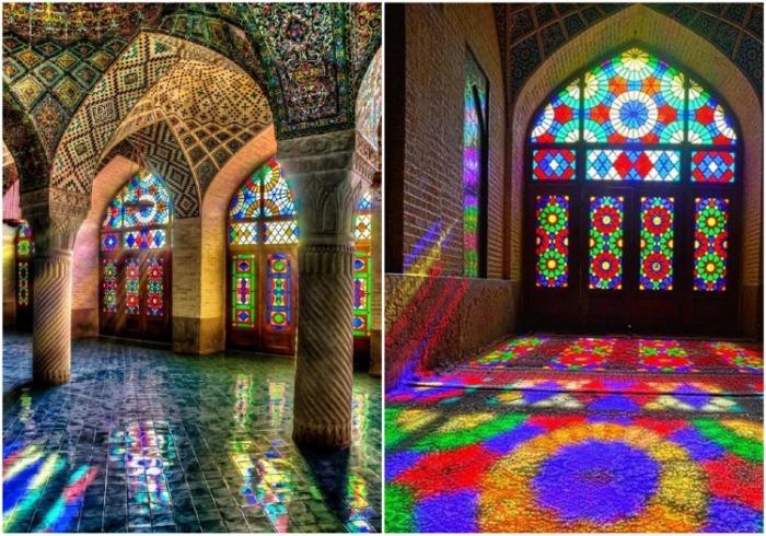 Витражи расписаны в особом стиле, поэтому возникает иллюзия объемного цветовосприятия (Nasir al-Mulk, Иран). | Фото: picbear.org.