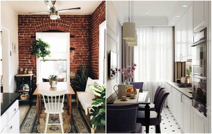 Даже узкую кухню можно сделать и уютной, и функциональной. | Фото: es.postila.io/ roomble.com.