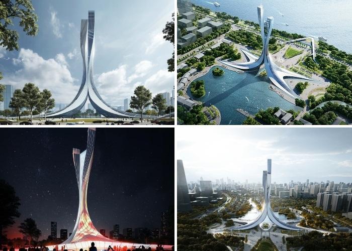 Создание Xiangjiang Gate станет частью более крупного проекта по превращению этого района в туристический центр (концепт RMJM Shanghai). | Фото: archdaily.com.