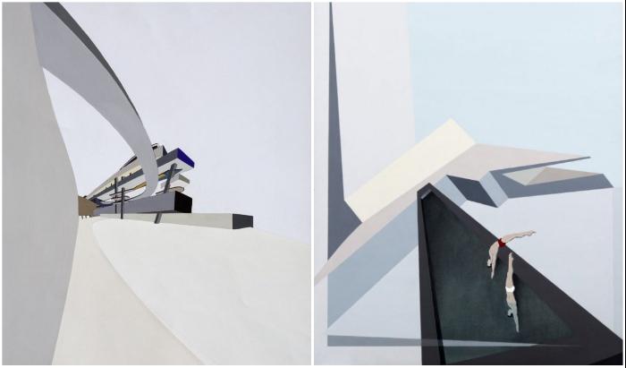 Нереальные формы и наполнение горизонтального небоскреба от Захи Хадид (концепт The Peak Leisure Club, 1982-1983 гг.).