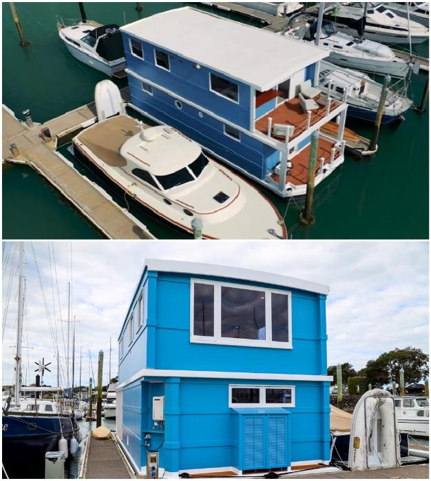 Каркас двухэтажного плавучего дом супруги сделали из фанеры и стекловолокна («Blue Turtle», Окленд). | Фото: youtube.com/ © Living Big In A Tiny House.