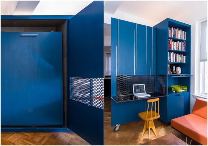 Откатная дверь поможет установить перегородку, на которой закреплен откидной стол (Unfolding apartment, Манхэттен).