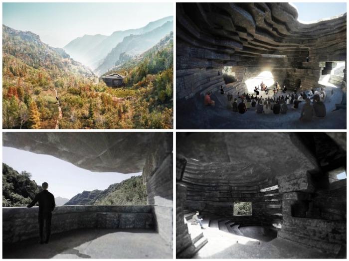 В Китае заканчивается строительство футуристического концертного зала «Часовня Звука» среди скалистых гор.