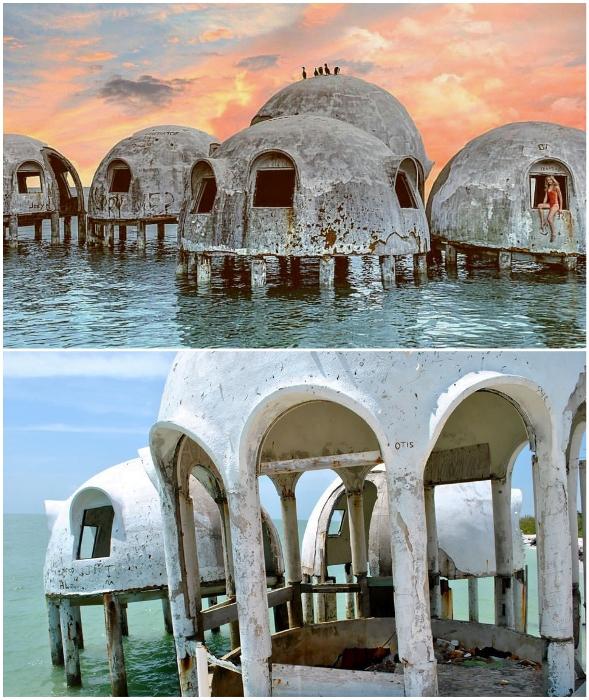 Эксцентричная морская резиденция нефтяного магната превратилась в жуткую «заброшку» (Cape Romano Dome House, Флорида).