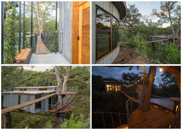 Эко-коттедж Yoki Treehouse состоит из двух домиков, соединенных подвесным мостом.