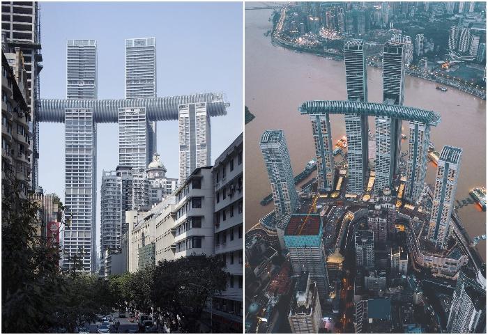 Горизонтальный небоскреб The Crystal является частью грандиозного комплекса из 8 высоток Raffles City Chongqing (Чунцин, Китай).