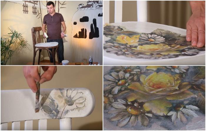Этапы создания рисунка на мебели с помощью обычной салфетки. | Фото: youtube.com/ mirbelogorya.ru.