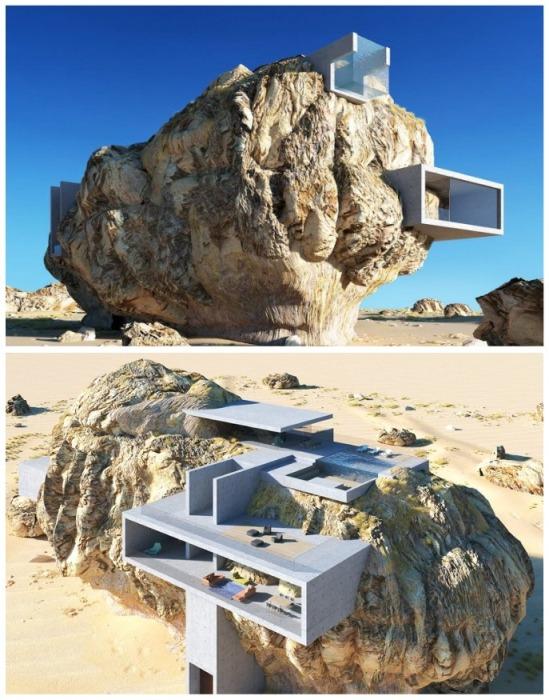 Основным стройматериалом станут специальные бетонные плиты и кубы. («Дом внутри скалы», визуализация Амея Кандалгаонкара). | Фото: doyouremember.com.