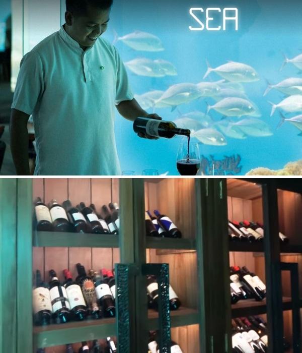 Сомелье всегда поможет подобрать самое подходящее вино к блюду от шеф-повара и не только (Sea Underwater Restaurant, Мальдивы). | Фото: anantara.com.