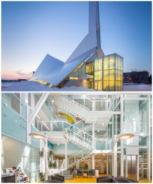 Канадские архитекторы в покинутой церкви создали ультрасовременную библиотеку (Квебек). | Фото: varlamov.ru.