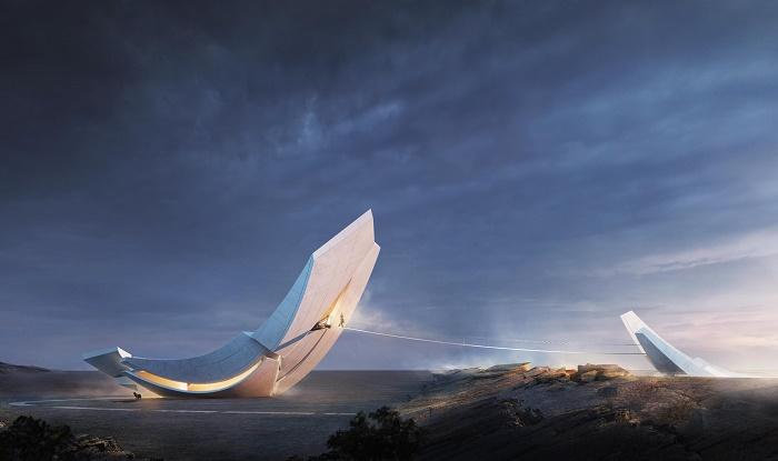 Символичное соединение и закрепление разрыва тектонических плит между двух континентов (концепт Anchor of the Plates). | Фото: designboom.com.