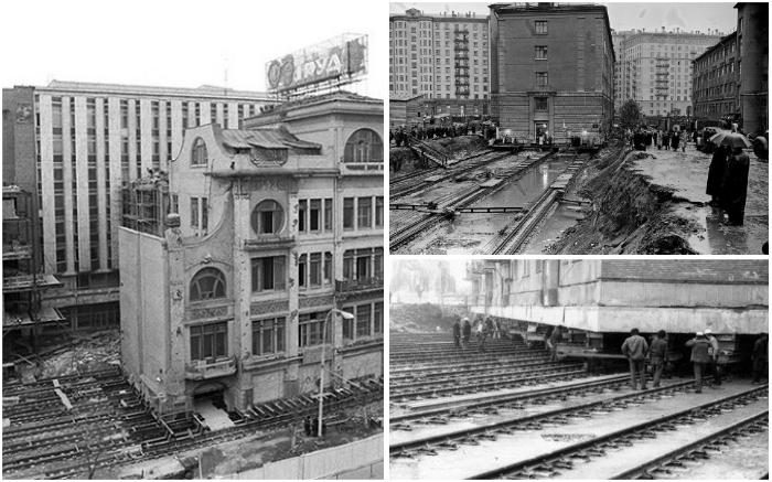 Даже капитальные здания с весом в несколько десятков тысяч тонн можно передвинуть с помощью домкратов и рельсов.