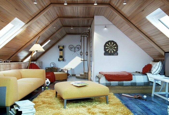 Особенно оценят мансардный этаж подростки и молодежь, желающие меть собственное пространство. | thearchitect.pro.