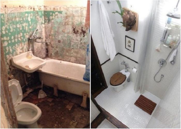 Даже миниатюрные ванные комнаты смогут удивить многофункциональностью. | Фото: pinterest.ru.