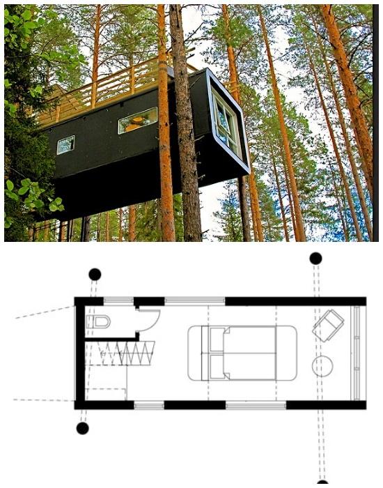 Мини-коттедж на дереве «Cabin» имеет площадь 15 кв. метров и рассчитан на двоих (эко-отель Treehotel). | Фото: enjourney.ru.