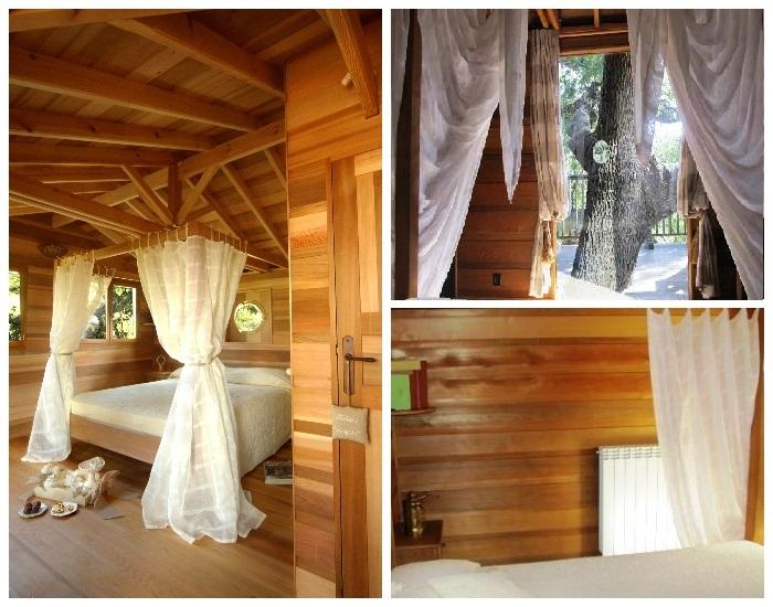 В номере оформили уютную спальню с роскошной кроватью и балдахином (Suite Blue, отель La Piantata). | Фото: treehousemap.com.