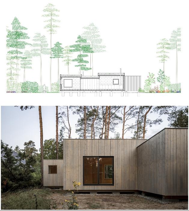 Дом установлен на бетонных опорах, чтобы минимизировать давление на грунт (Haus Koeris, Германия). © Zeller & Moye.
