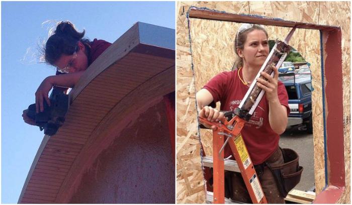 С отделочными и изоляционными работами активная девушка справлялась сама («Lucky Penny», США). | Фото: facebook.com/ © Lina Menard.
