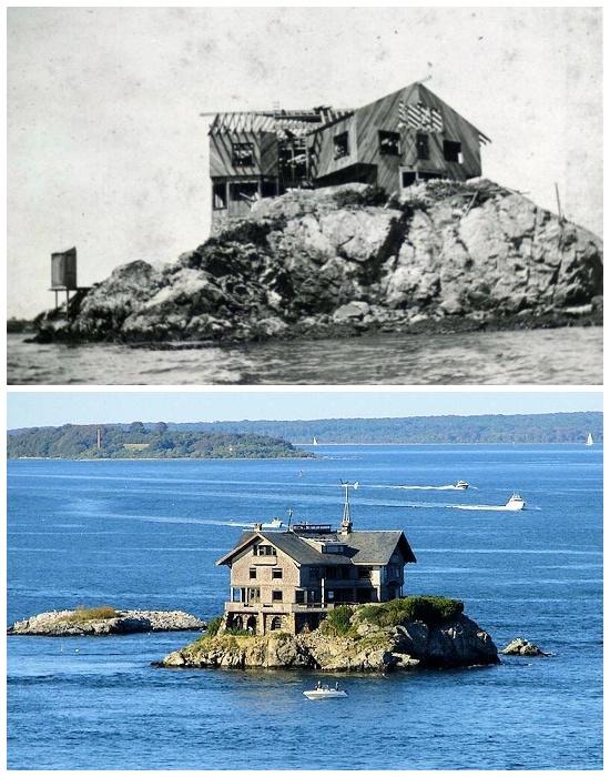 Дом на скалистом острове в заливе Наррагансетт (Clingstone House, США).