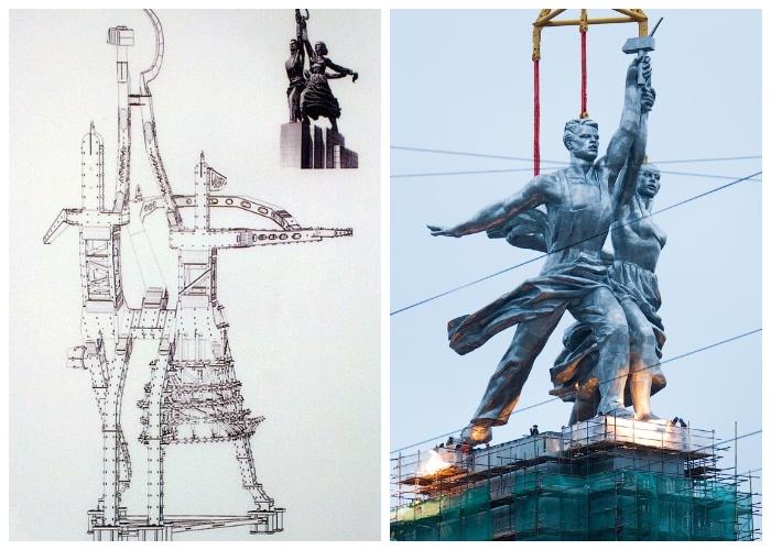В 2003 году статую «Рабочий и колхозница» разобрали и отправили в НИИ стальных конструкций им. В.А. Кучеренко на реставрацию (Монумент «Рабочий и колхозница»).