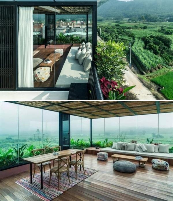 Из окон от потолка до пола открывается восхитительный вид на банановый лес и рисовые поля (Гуанчжоу, Китай). | Фото: chinatimes.com.