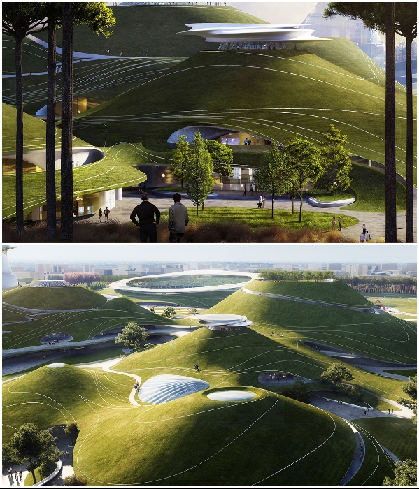 На территории спортивного городка создадут обзорные площадки (визуализация «Quzhou Sports Park»). | Фото: newatlas.com/ © MAD Architects.
