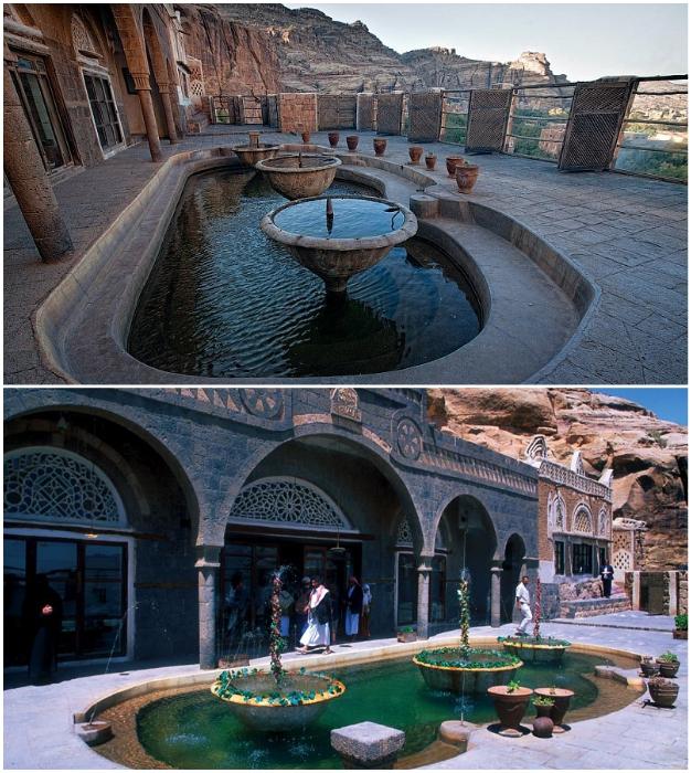 Из апартаментов имама был выход на террасу с фонтанами («Dar al-Hajar», Йемен).